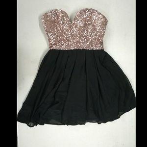 Champagne Sequin and Black Agaci Dress NWT